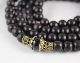 Mens Mala Bracelet, 108, Mala Wrap Bracelet, Yoga Gift Men, Mala, Black Tourmaline, Yoga Necklace, Mala Beads, Mala Necklace Men, Japa Mala