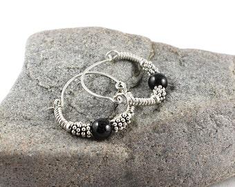 Silver Hoop Earrings, Black Tourmaline Earrings, Sterling Silver, Gem Hoop Earrings, Gemstone Hoop, Hoop Earrings, Black Tourmaline, Yoga
