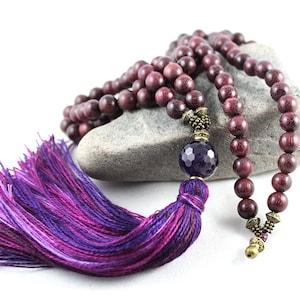 Gem Mala Peltogyne Mala Prayer Bead Japa Mala Prayer Beads Yoga Style Tassel Necklace Purple Heart Mala Tassel Mala Amethyst Mala