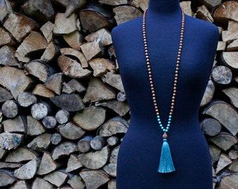 Sandalwood Mala, Lotus Bead, Tassel Necklace, Meditation Beads, Prayer Beads, Mala Necklace, Yoga Style, Sandalwood Prayer Beads, Meditation
