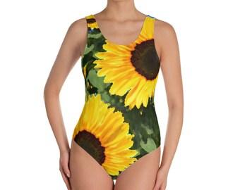 52e7d30e9d Sunflowers, Watercolor Impressionistic Effect - One-Piece Swimsuit