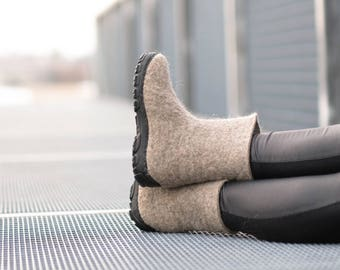 Wool Valenki Boots, Custom made boots Rubber Soles, Ankle Boots Natural Wool boots, Sale Winter Boots Womens Fall Boots Womens Slipper Boots