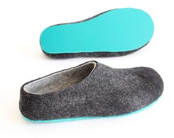 82bf36390cf5 Women Wool Slippers Charcoal Natural Slippers Scandinavian