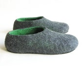 Gifts for Dad, Mens felted slippers, woolen slippers gray Green, Luxury felt slippers Men - useful gift for him