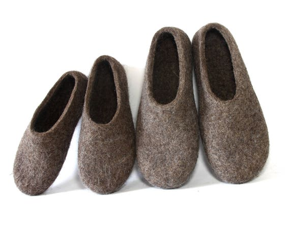 Daddy And Me Felt Eco Slippers Brown Matching Felt Home Etsy