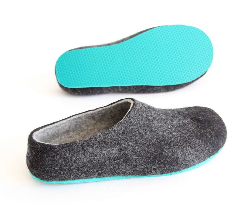41cddc52d1fea House Slippers Women Wool Hygge Slippers Charcoal, House Wool Shoes, Womens  Gift, 7 Contrast Color Rubber Soles for felt shoes Wool Slippers