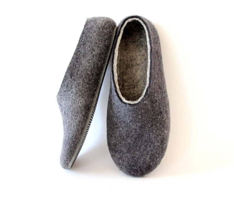 3746ed6f5 Boiled Wool Slippers Unisex Charcoal Gray Mens slippers | Etsy