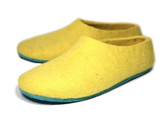 Aqua gelb Hausschuhe Wolle Loafers nicht rutschssohlen, Filz Hausschuhe Custom Hausschuhe, minimalistischen Schuh, Wolle Schuhe für Frauen, Wolle