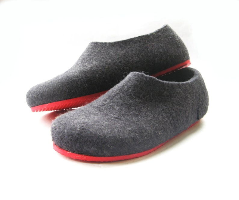 Black Slippers Boiled House Shoes, Womens Loafers women Felt Slippers, Etchical shoes Comfortable slip Ons Wide, Winter Natural Footwear