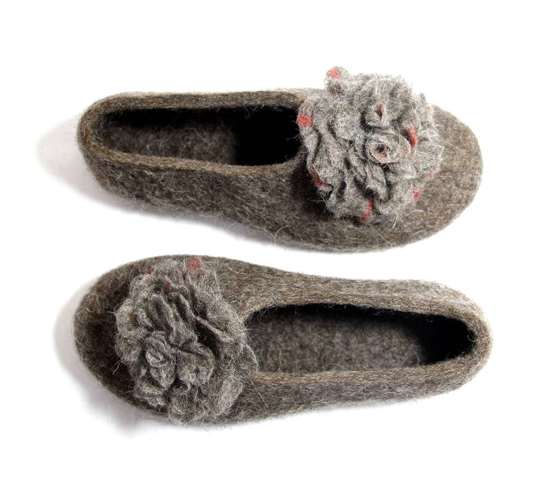 Organic Wool Clogs Brown Floral Slippers Hygge, Supernatural Shoes Felt Roses, Womens Slippers with Soles Flower Fairy Bohemian Wife Gift