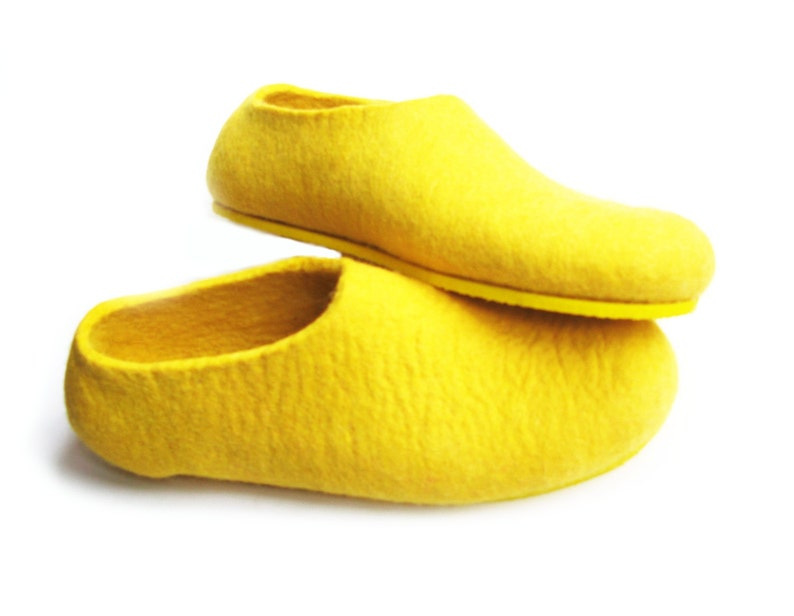 8d1b0c6a2 Yellow Felt Slippers Wool Felted slippers Boiled house Shoes | Etsy