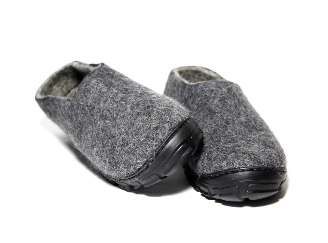 Boiled Wool Slippers, Charcoal Mens Moccasins - New dad gift - Freezing weather Winter Outdoors - 20 CUSTOM colors for interior