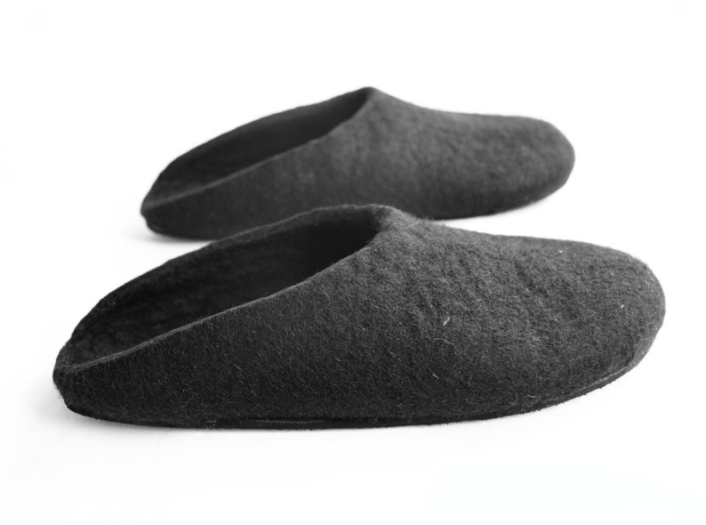 Womens Felted Slippers With Rubber Sole Slippers in Black Gifts for Mom Australian Fashion Womens slippers Womens Sizes