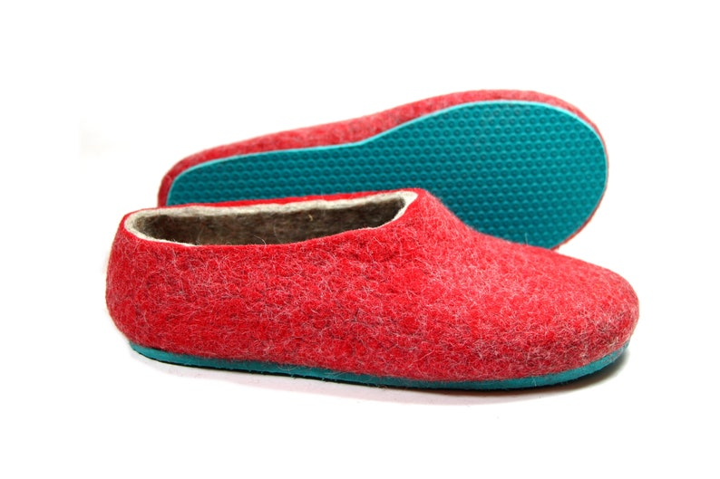 54b8faa17e8f3 Gray Ruby red slippers, winter slippers, boiled wool slippers - 7 colors  rubber soles - architecture gifts, wool gifts for Men or Women