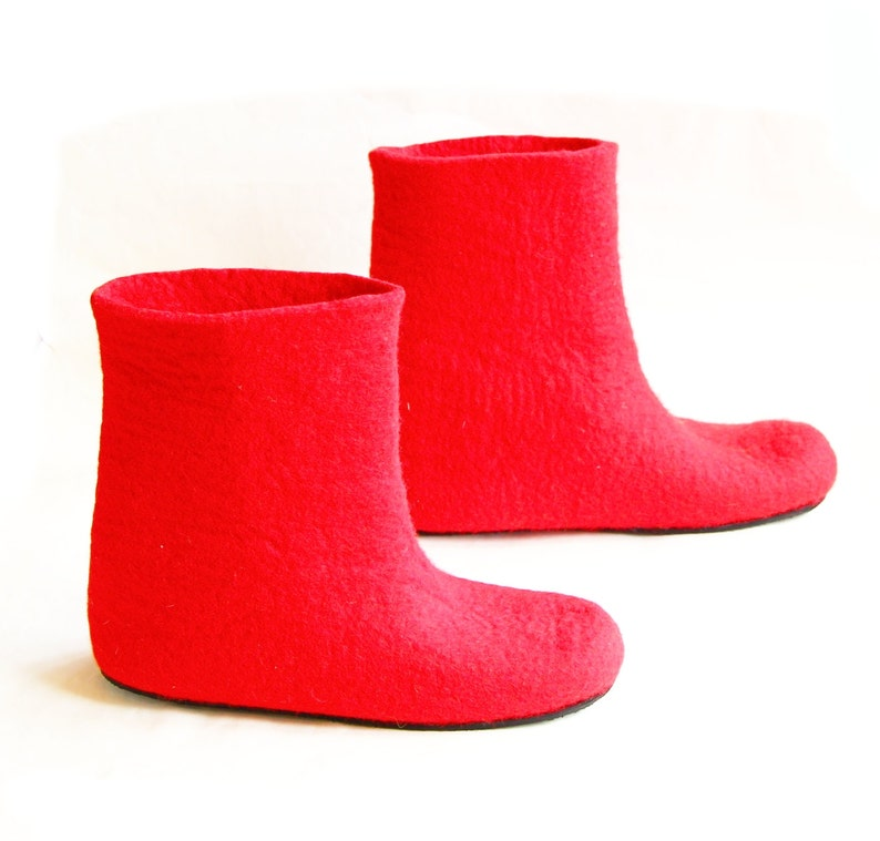 72b948e8ca56e7 Filzstiefel Filz Stiefel Frauen rot Gefilzte Hausschuhe