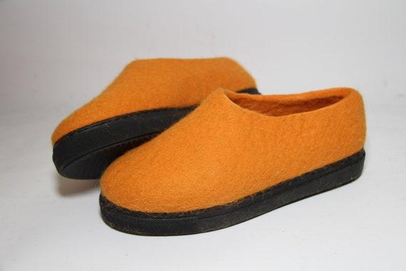 SOFORT lieferbar Orange Filzstiefel, Damen winter Stiefel, Bio Wolle Schuhe Damen Größe US 9 Eu 40