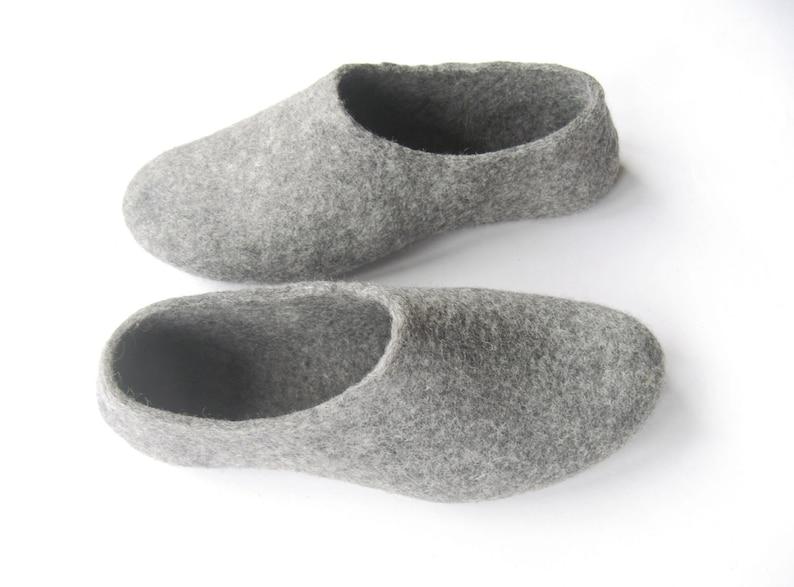 1b547852abd93 Boiled wool clogs, womens felt slippers, wet felted slippers, grey  slippers, SUPERnatural gift