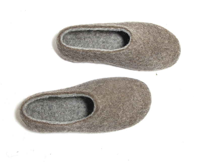 9e5a6aa5b3789 Minimalist slippers, women wool slippers from natural wool - customize  color rubber soles