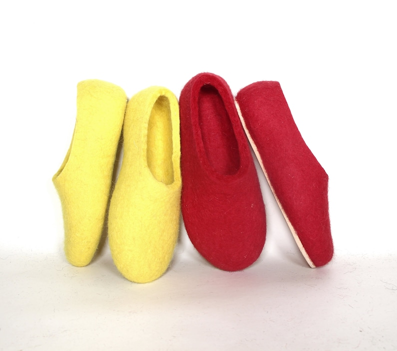 e9dbca469b OUTLET SALE Red wedding shoes Felted wool slippers with Cork