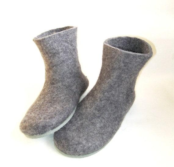 Handmade Gray Felt Bedroom Slippers Boots Felt Boots Cold Etsy