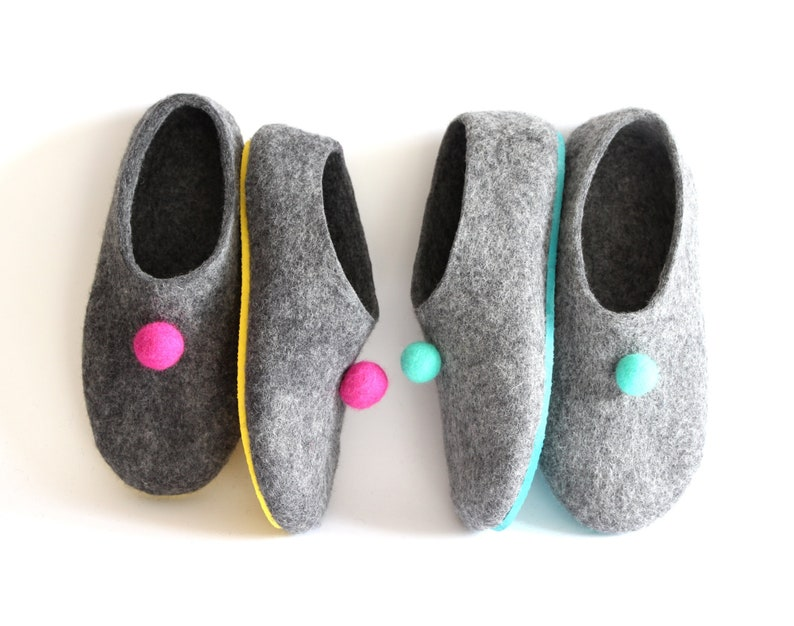 Couples Gift Ideas Felt Pom Pom Slippers Men Women Home Shoes, Matching  adult Slippers with Sole, Family Wedding Anniversary Gift YOUR COLOR
