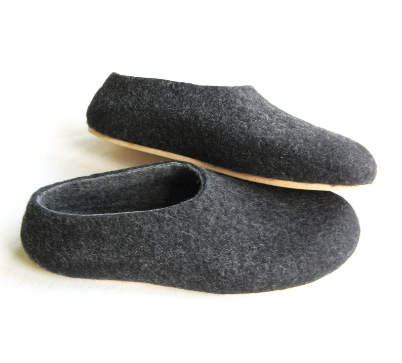8273dfb2f8b4 Wet felted slippers Charcoal Black slippers Mens felt