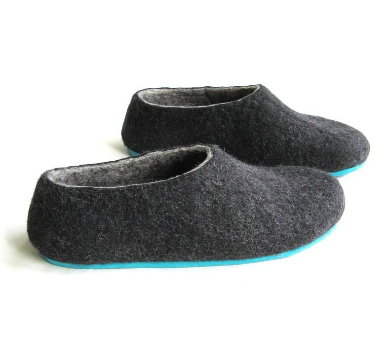 a6b8a18c56de1 Women Wool Slippers Charcoal Natural Slippers, Scandinavian womens Felt  Slippers, Lounging Bedroom Slippers Organic felt House Slippers