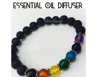 Oil Diffuser / Chakra Bracelet with Gemstones And Lava Stone Beads
