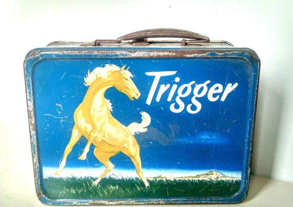 Vintage 1950's Roy Rogers Trigger Tin Lunch Box American Thermos Bottle Co. Collectible