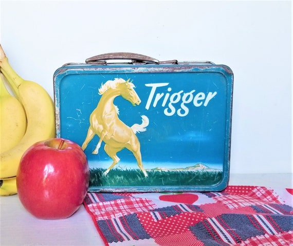 Vintage 1950's Roy Rogers Trigger Tin Lunch Box Am