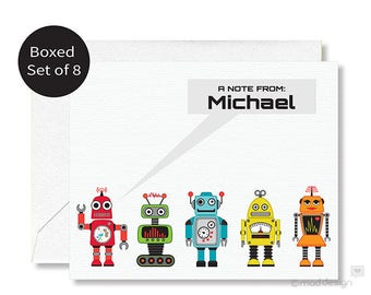 Personalized Robot Notecards / Kids Cards / Set of 8 / Robots
