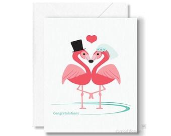 Congratulations Card / Wedding Card / Love Card / Flamingo Card / Congrats Card