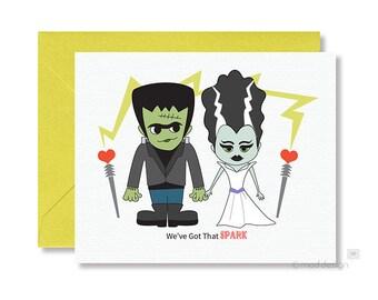 Halloween Love Card / Frankenstein / Bride of Frankenstein / We've Got That Spark