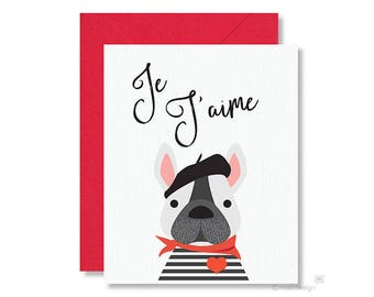 Love Card / Anniversary Card / Valentine / Frenchie / Je T'aime