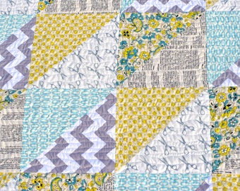 Easy, Modern Triangles Baby Quilt Pattern for Beginners! Instant Download PDF Quilt Pattern