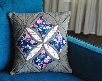 "PDF Pattern: Modern Cathedral Windows Pillow 14"" x 14"""