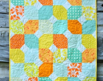 Easy, Modern Snowball Baby Quilt Pattern for Beginners! Instant Download PDF Quilt Pattern