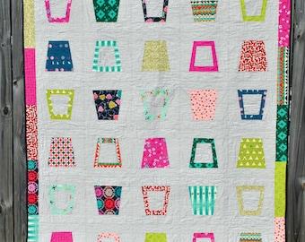 PDF Pattern Only: Glass Half Full II - Modern Twin Size Quilt Pattern