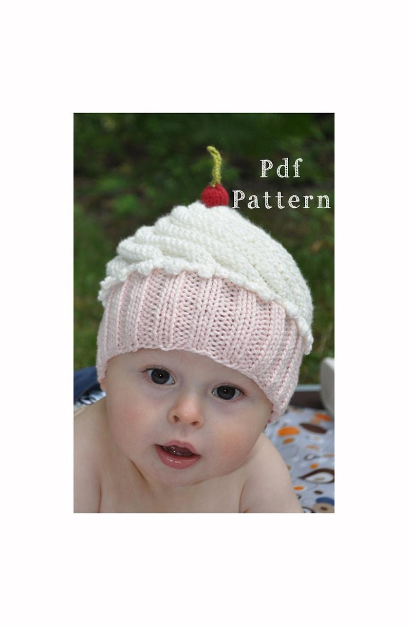 Cute as a Cupcake Hat PDF Knitting Pattern for Newborn ...
