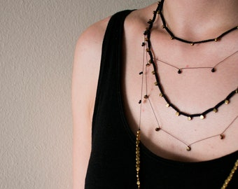 dainty garland necklace with gold hematite round discs, delicate jewelry, light necklace, minimal, layering necklace