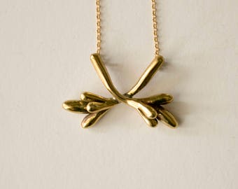 abstract pendant with crossed botanical twigs, minimalistic necklace, botanical, nature inspired jewelry