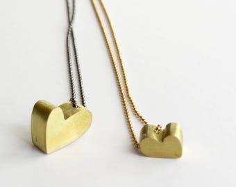 Solid brass dainty heart pendants