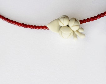 modern romantic minimal polymer clay retro jewellry . nO. 199 '' retro branch between red corals'' necklace