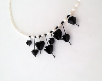 geometrical glam minimalistic flower necklace with black polymer and fresh water pearls, nO 203 ''black lillies between fresh-water pearls''