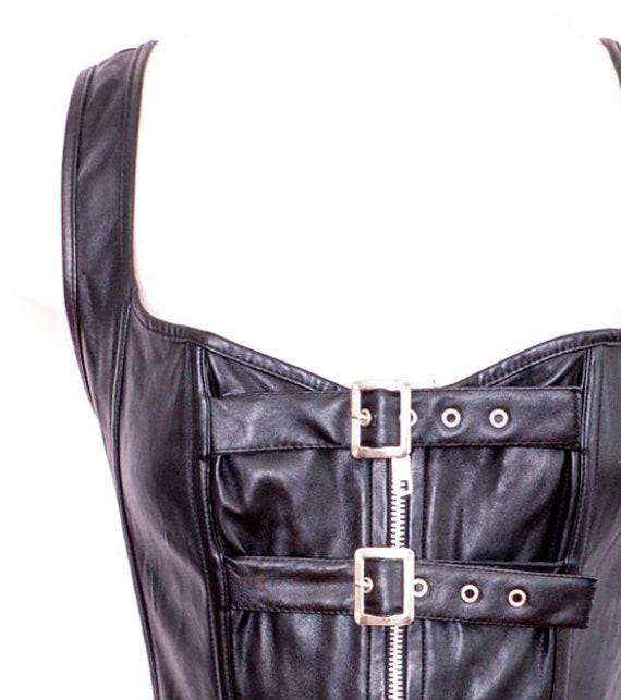 Y2K Black Bustier Faux Leather Y2K Corset Vintage… - image 5