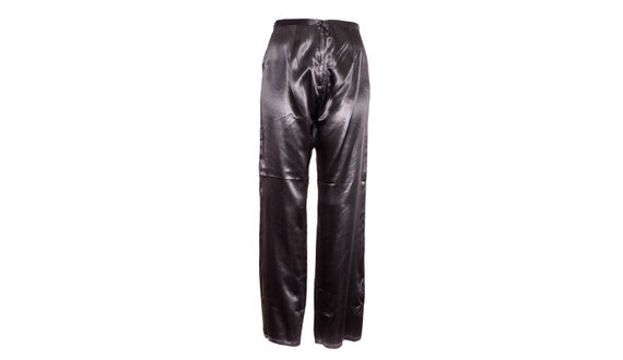Black Satin Pants 90's Silky Chinese Dragon Pants