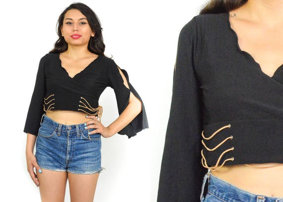 90/'s Flare Sleeve Crochet Sheer ZIG ZAG TOP Black Knit Top Mod Grunge Minimalist Witchy Disco 70/'s Size Large V Neck