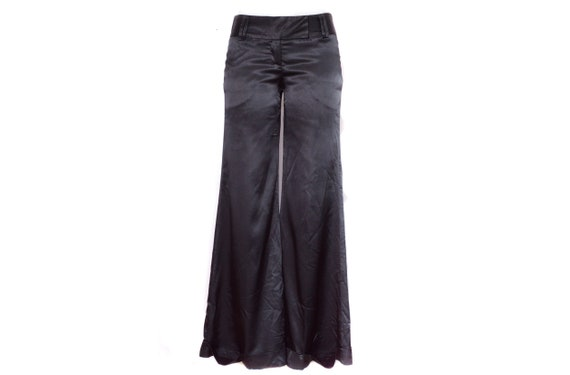 Black Satin Pants 90's Silky Palazzo Pants 2000s P