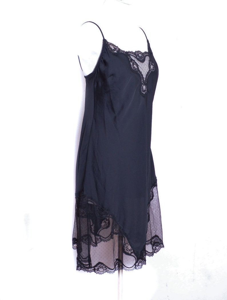 90s Satin Slip Dress Mini Lingerie Black Satin Slip Lace Trim Vintage Spaghetti Strap 1990s V Neck Line  Victoria/'s Secret Size L
