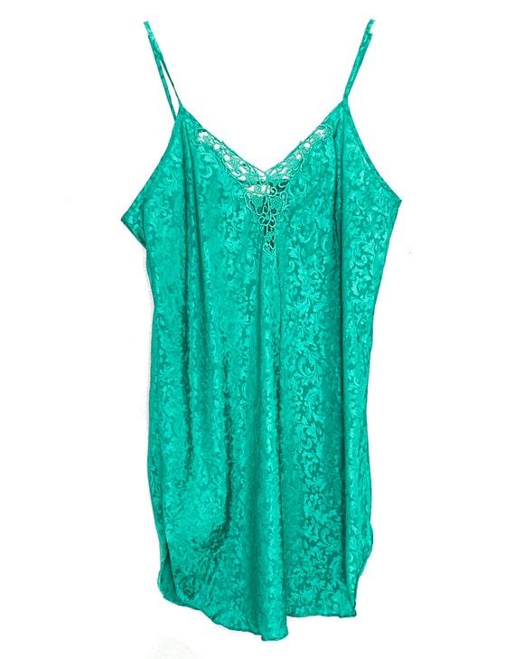 90s Slip Dress Mini Satin Slip Dress Lingerie Gre… - image 2